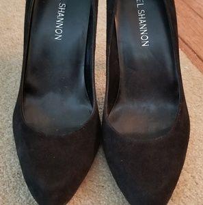 Michael Shannon black suede pumps heels 7